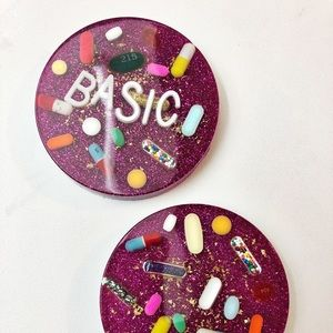 Accessories - Set of 2 -Pink Resin Petri Coasters for Home /Gift